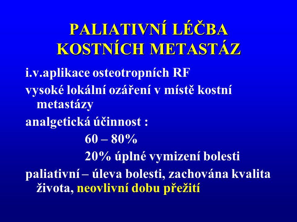 PALIATIVNÍ LÉČBA KOSTNÍCH METASTÁZ i.v.aplikace osteotropních RF vysoké lokální ozáření v místě kostní metastázy analgetická účinnost : 60 – 80% 20% ú