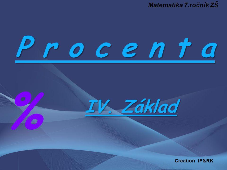P r o c e n t a % IV. Základ Matematika 7.ročník ZŠ Creation IP&RK