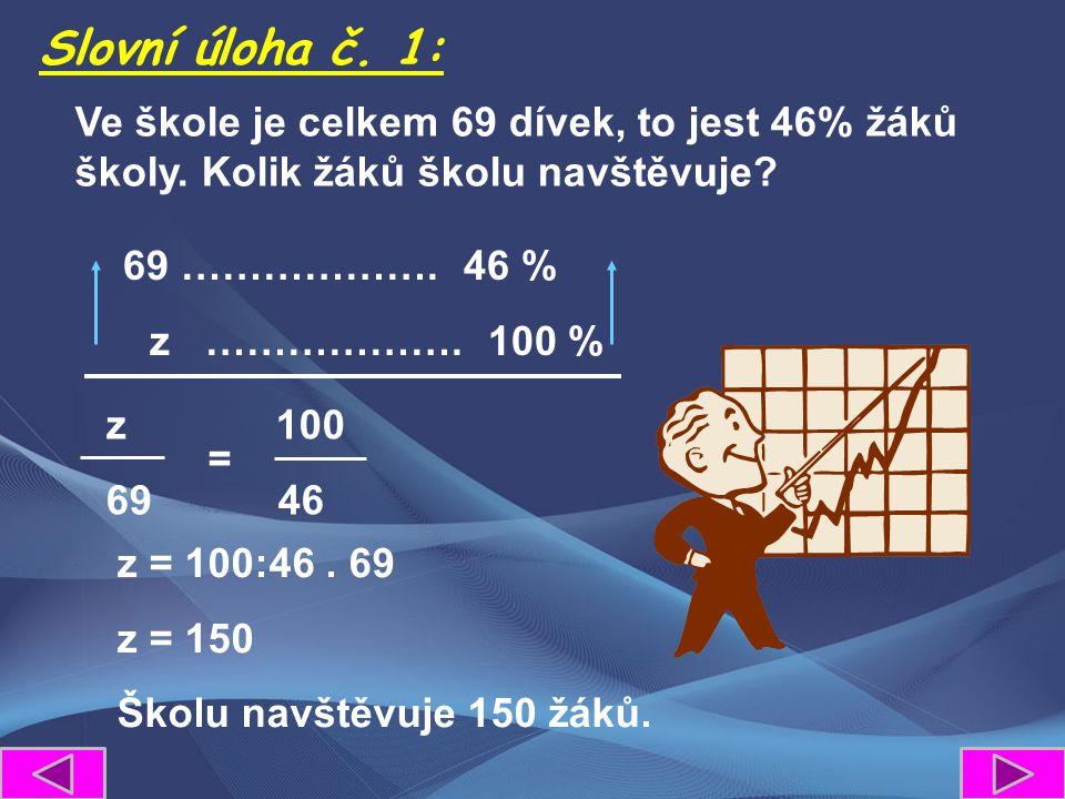 z 100 69 46 Slovní úloha č. 1: = Ve škole je celkem 69 dívek, to jest 46% žáků školy. Kolik žáků školu navštěvuje? 69 ………………. 46 % z ………………. 100 % z =
