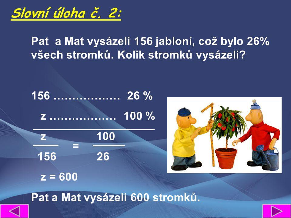 Pat a Mat vysázeli 156 jabloní, což bylo 26% všech stromků. Kolik stromků vysázeli? 156 ……………… 26 % z ……………… 100 % z 100 156 26 z = 600 Pat a Mat vysá