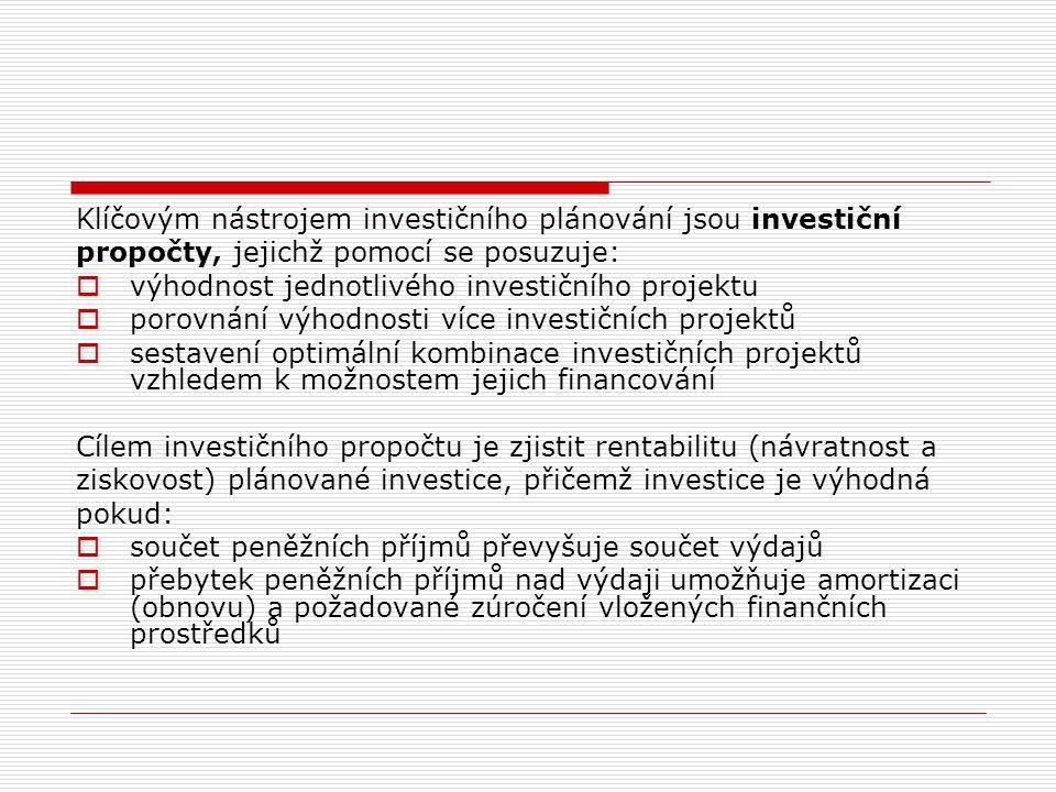 Klasifikace investic Investice lze řadit dle celé řady kritérií, mezi která patří především:  Vliv na podnikovou ekonomiku  Účetní hledisko  Vztah k rozvoji podniku  Vzájemný vliv projektů  Věcná náplň  Výchozí podmínky realizace  Způsob financování  Typ peněžního toku  Možnost aktivních zásahů v budoucnu  Doba výstavby