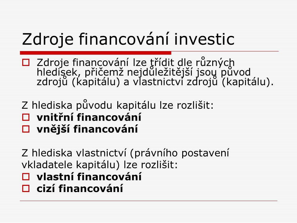 Zdroje financování investic  Zdroje financování lze třídit dle různých hledisek, přičemž nejdůležitější jsou původ zdrojů (kapitálu) a vlastnictví zd