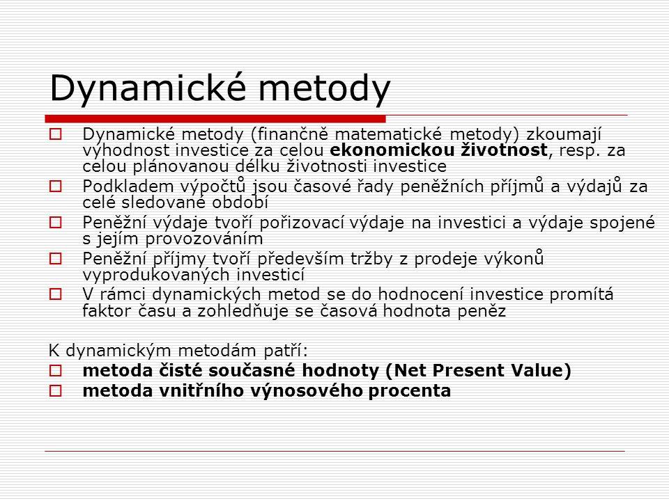 Dynamické metody  Dynamické metody (finančně matematické metody) zkoumají výhodnost investice za celou ekonomickou životnost, resp. za celou plánovan