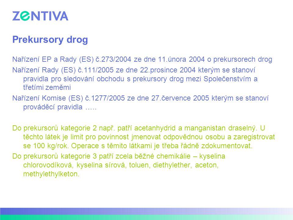 Prekursory drog Nařízení EP a Rady (ES) č.273/2004 ze dne 11.února 2004 o prekursorech drog Nařízení Rady (ES) č.111/2005 ze dne 22.prosince 2004 kterým se stanoví pravidla pro sledování obchodu s prekursory drog mezi Společenstvím a třetími zeměmi Nařízení Komise (ES) č.1277/2005 ze dne 27.července 2005 kterým se stanoví prováděcí pravidla …..