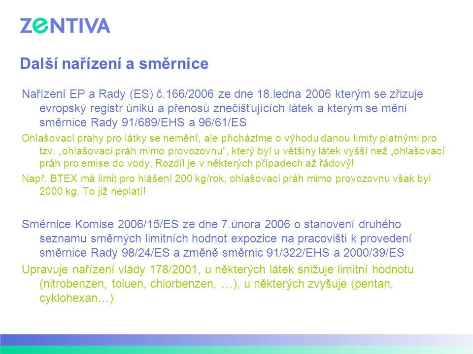 Další nařízení a směrnice Nařízení EP a Rady (ES) č.166/2006 ze dne 18.ledna 2006 kterým se zřizuje evropský registr úniků a přenosů znečišťujících lá