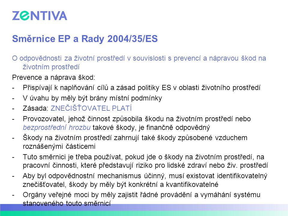 Směrnice EP a Rady 2004/35/ES O odpovědnosti za životní prostředí v souvislosti s prevencí a nápravou škod na životním prostředí Prevence a náprava šk