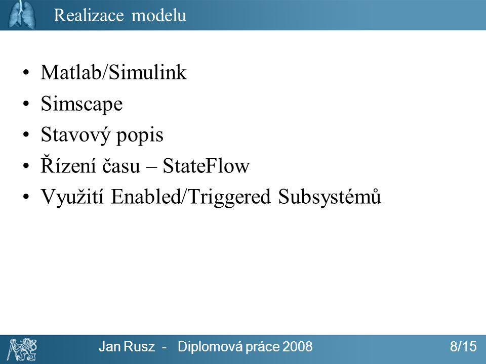 Jan Rusz - Diplomová práce 2008 8/15 Realizace modelu Matlab/Simulink Simscape Stavový popis Řízení času – StateFlow Využití Enabled/Triggered Subsyst