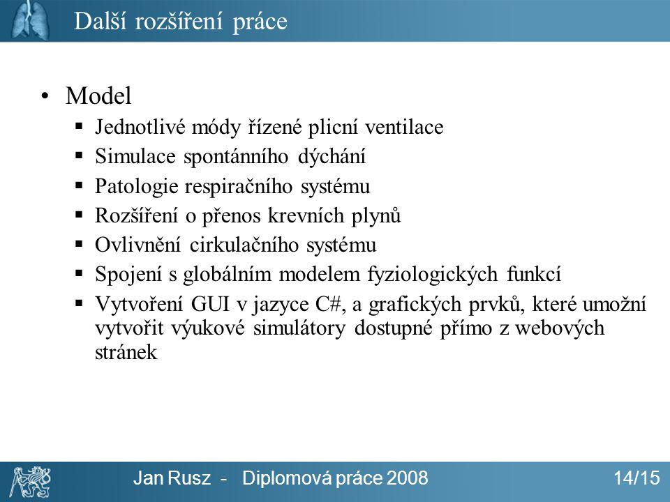 Jan Rusz - Diplomová práce 200814/15 Další rozšíření práce Model  Jednotlivé módy řízené plicní ventilace  Simulace spontánního dýchání  Patologie