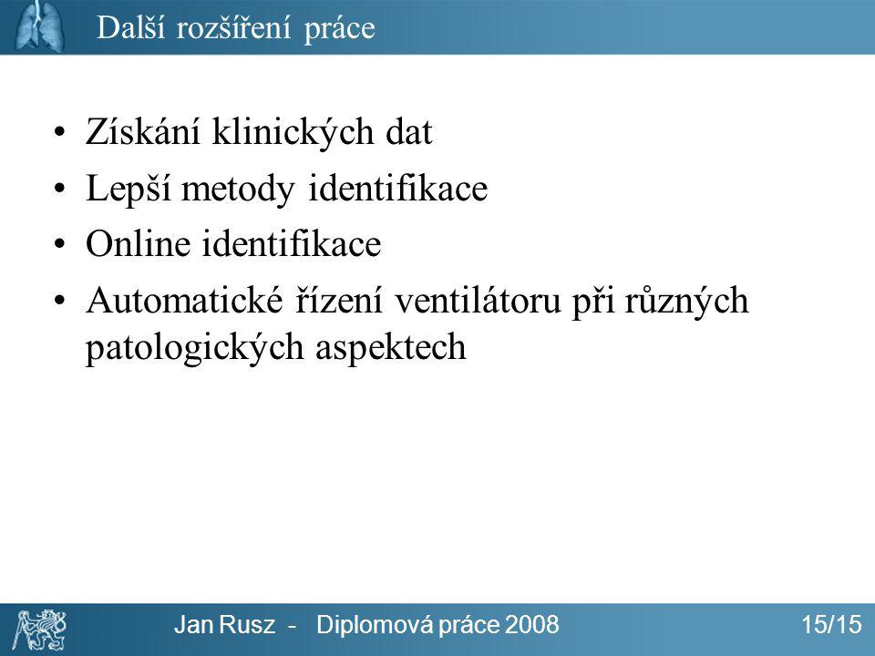 Jan Rusz - Diplomová práce 200815/15 Další rozšíření práce Získání klinických dat Lepší metody identifikace Online identifikace Automatické řízení ven