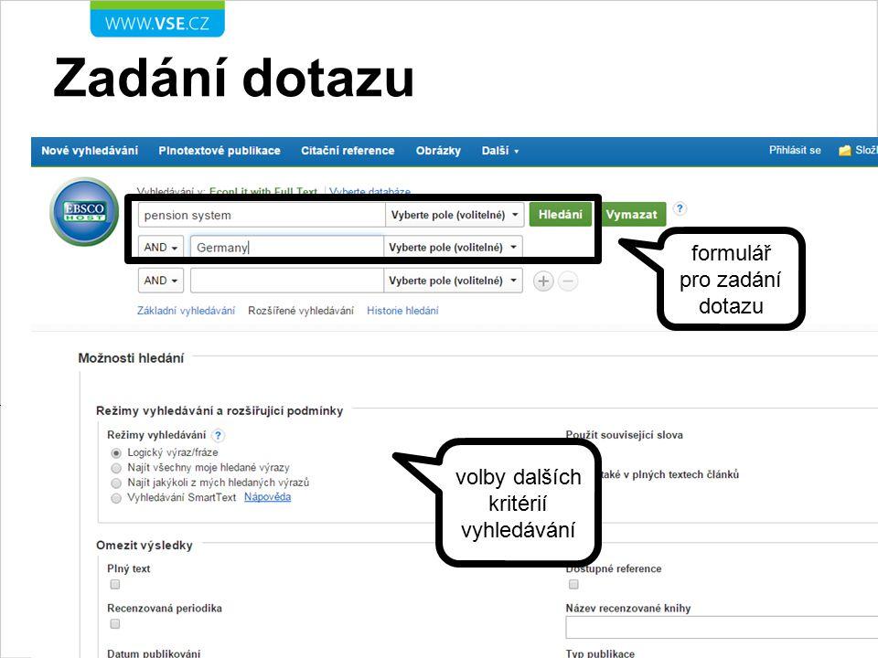 Práce s výsledky hledání možnosti dalšího filtrování výsledků kliknutím na název se zobrazí plný záznam dokumentu