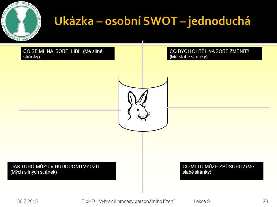30.7.2015Blok D - Vybrané procesy personálního řízení Lekce 9.23 Ukázka – osobní SWOT – jednoduchá CO SE MI NA SOBĚ LÍBÍ : (Mé silné stránky) CO BYCH CHTĚL NA SOBĚ ZMĚNIT.