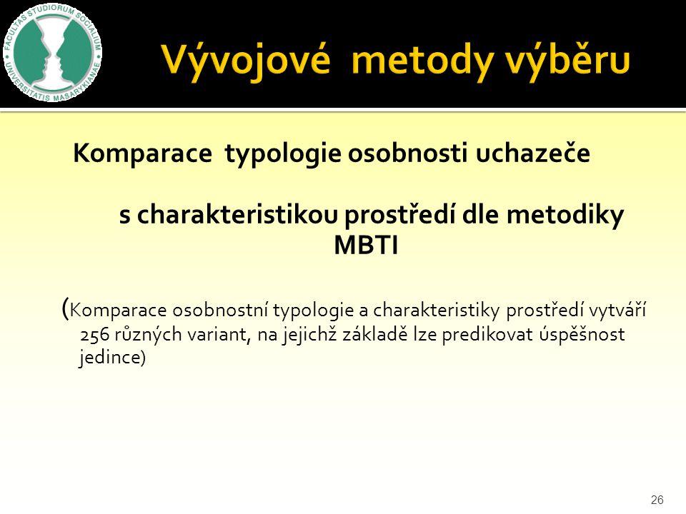 Komparace typologie osobnosti uchazeče s charakteristikou prostředí dle metodiky MBTI ( Komparace osobnostní typologie a charakteristiky prostředí vytváří 256 různých variant, na jejichž základě lze predikovat úspěšnost jedince) 26