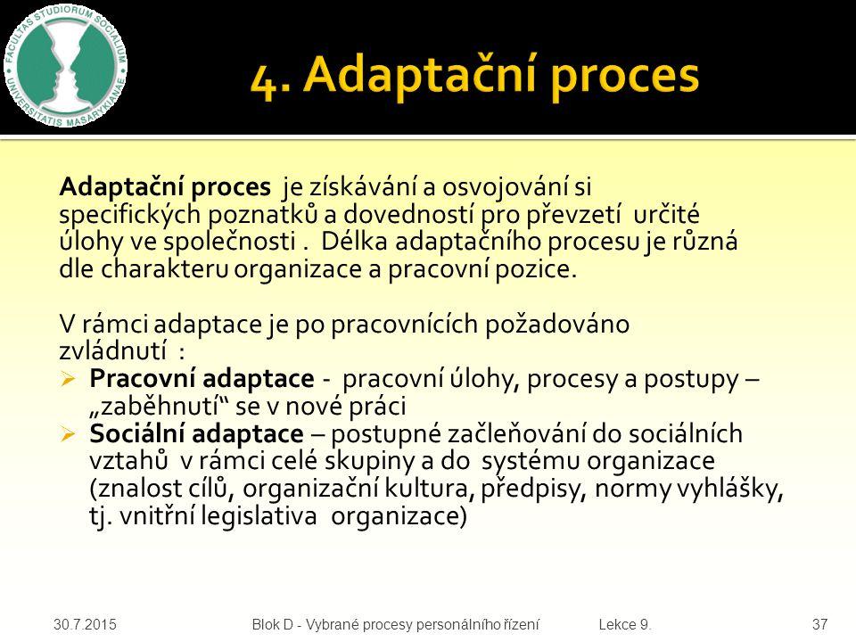 Adaptační proces je získávání a osvojování si specifických poznatků a dovedností pro převzetí určité úlohy ve společnosti.