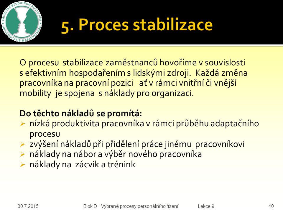 O procesu stabilizace zaměstnanců hovoříme v souvislosti s efektivním hospodařením s lidskými zdroji.
