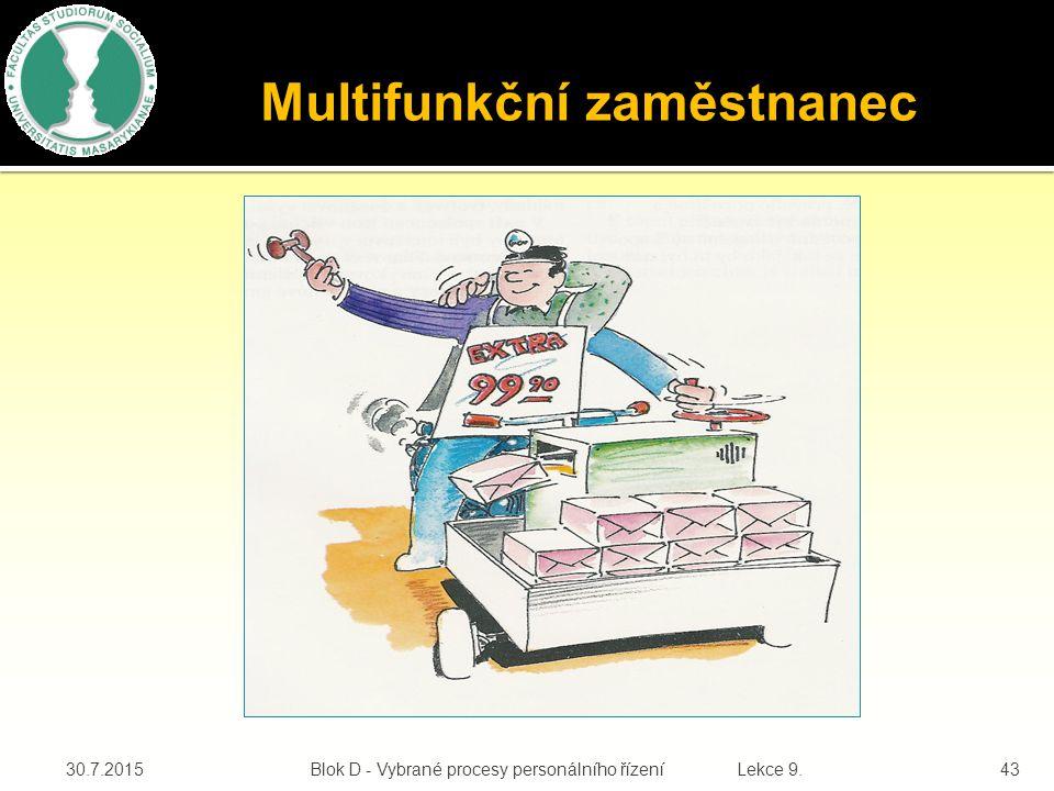 30.7.2015Blok D - Vybrané procesy personálního řízení Lekce 9.43 Multifunkční zaměstnanec job enlargment