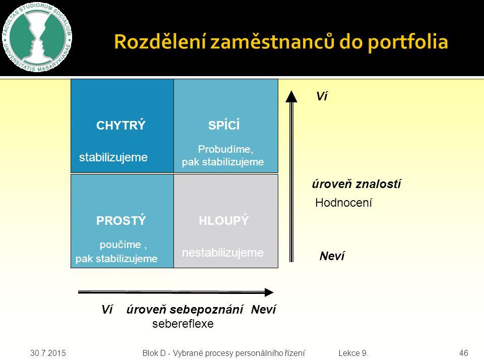 V přístupu ke stabilizaci nabývá na důležitosti rozdělení pracovníků do portfolia použitelnosti v rámci flexibilní organizace dle následující schématu