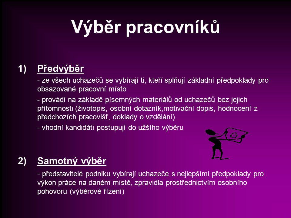 Účastníci výběrového řízení personalista, budoucí nadřízený, uchazeč Popř.