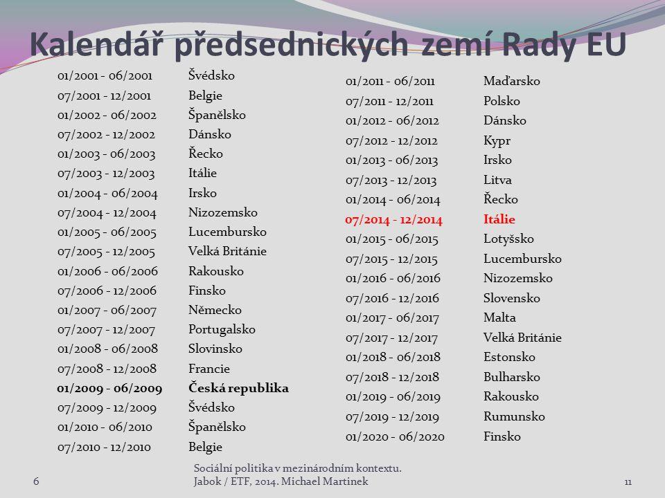 Kalendář předsednických zemí Rady EU 01/2001 - 06/2001Švédsko 07/2001 - 12/2001Belgie 01/2002 - 06/2002Španělsko 07/2002 - 12/2002Dánsko 01/2003 - 06/