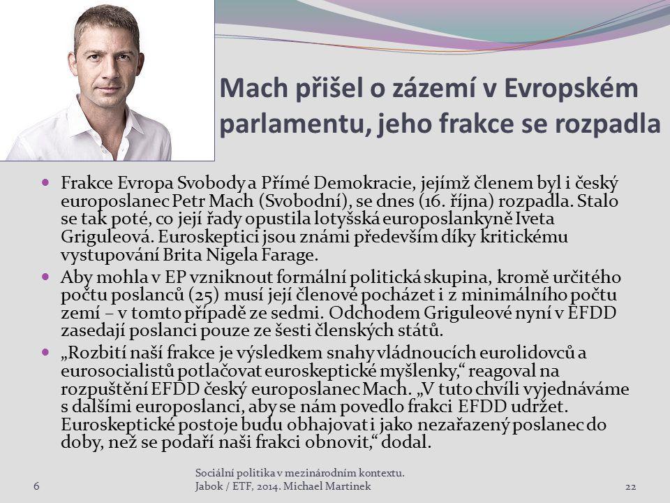 Mach přišel o zázemí v Evropském parlamentu, jeho frakce se rozpadla Frakce Evropa Svobody a Přímé Demokracie, jejímž členem byl i český europoslanec