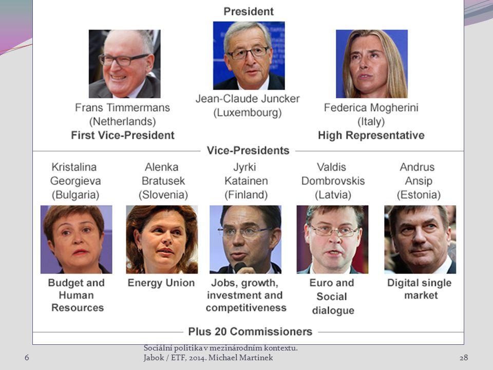 6 Sociální politika v mezinárodním kontextu. Jabok / ETF, 2014. Michael Martinek28