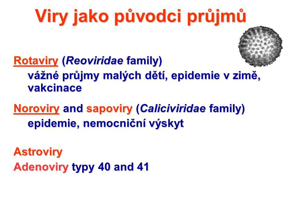 Viry jako původci průjmů Rotaviry (Reoviridae family) vážné průjmy malých dětí, epidemie v zimě, vakcinace Noroviry and sapoviry (Caliciviridae family