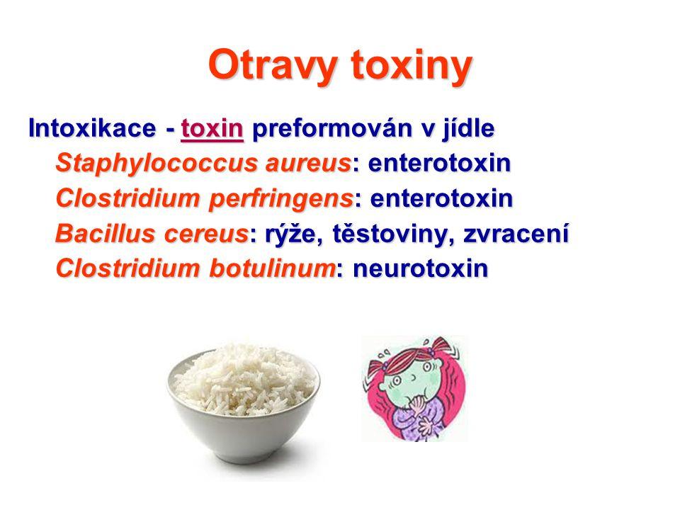 Otravy toxiny Intoxikace - toxin preformován v jídle Intoxikace - toxin preformován v jídle Staphylococcus aureus: enterotoxin Clostridium perfringens