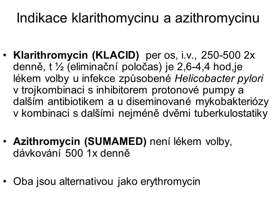 Indikace klarithomycinu a azithromycinu Klarithromycin (KLACID) per os, i.v., 250-500 2x denně, t ½ (eliminační poločas) je 2,6-4,4 hod,je lékem volby