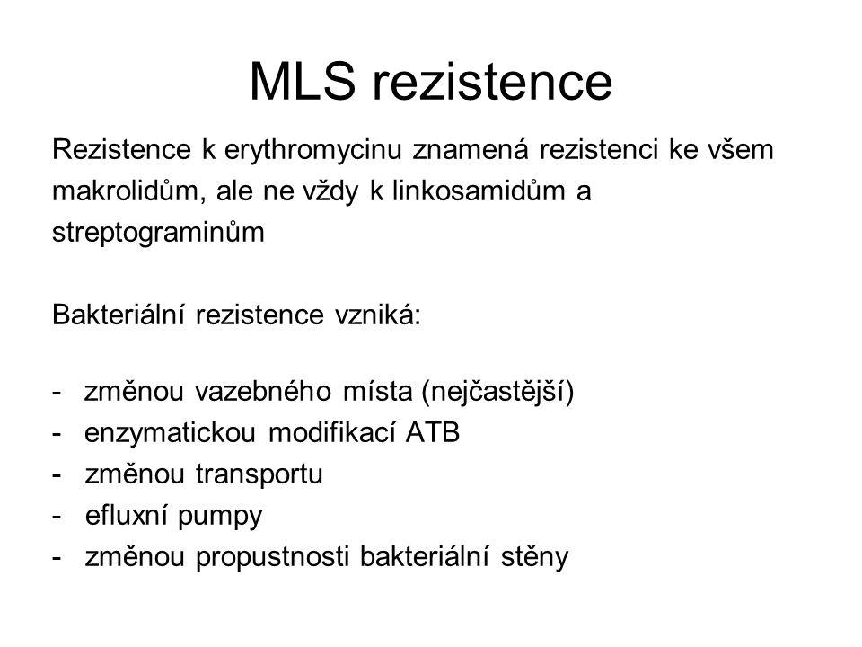 MLS rezistence Rezistence k erythromycinu znamená rezistenci ke všem makrolidům, ale ne vždy k linkosamidům a streptograminům Bakteriální rezistence vzniká: -změnou vazebného místa (nejčastější) -enzymatickou modifikací ATB - změnou transportu - efluxní pumpy - změnou propustnosti bakteriální stěny