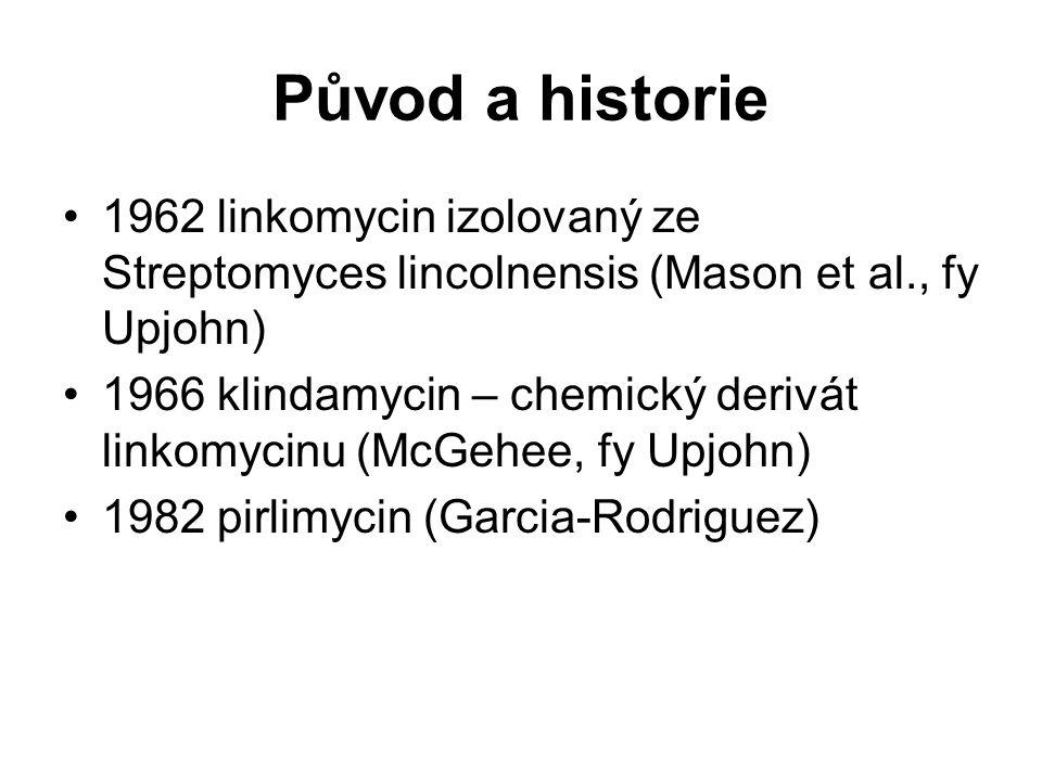 Původ a historie 1962 linkomycin izolovaný ze Streptomyces lincolnensis (Mason et al., fy Upjohn) 1966 klindamycin – chemický derivát linkomycinu (McG