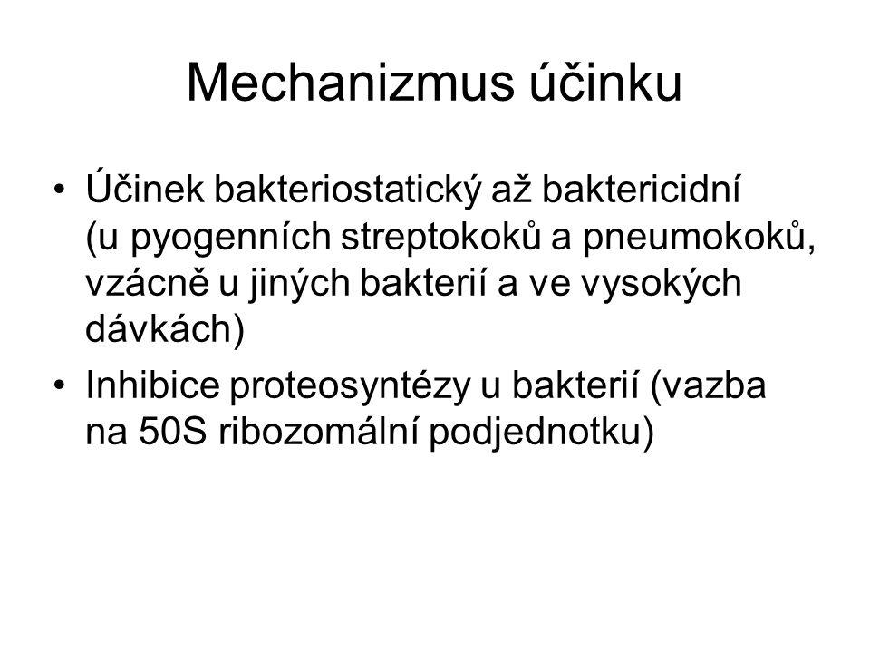 Mechanizmus účinku Účinek bakteriostatický až baktericidní (u pyogenních streptokoků a pneumokoků, vzácně u jiných bakterií a ve vysokých dávkách) Inhibice proteosyntézy u bakterií (vazba na 50S ribozomální podjednotku)