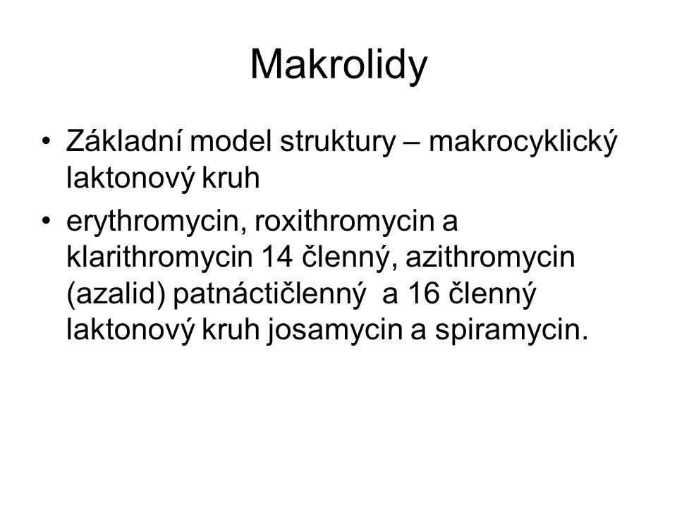 Makrolidy Základní model struktury – makrocyklický laktonový kruh erythromycin, roxithromycin a klarithromycin 14 členný, azithromycin (azalid) patnác