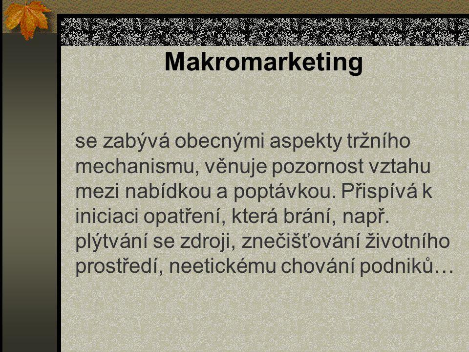Makromarketing se zabývá obecnými aspekty tržního mechanismu, věnuje pozornost vztahu mezi nabídkou a poptávkou. Přispívá k iniciaci opatření, která b