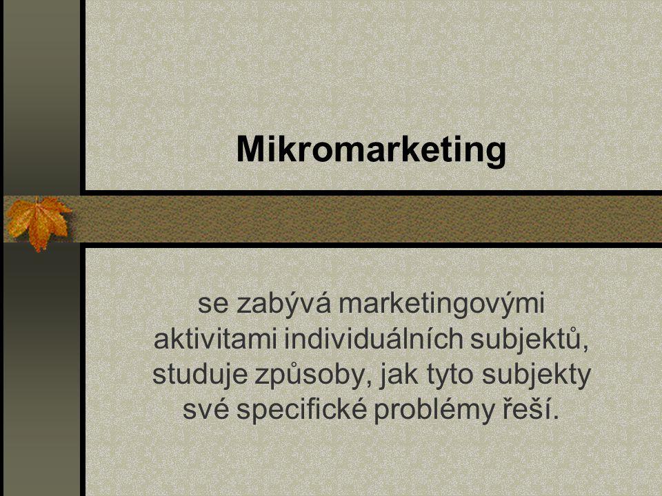 Mikromarketing se zabývá marketingovými aktivitami individuálních subjektů, studuje způsoby, jak tyto subjekty své specifické problémy řeší.