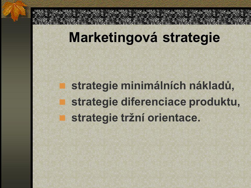 Marketingová strategie strategie minimálních nákladů, strategie diferenciace produktu, strategie tržní orientace.