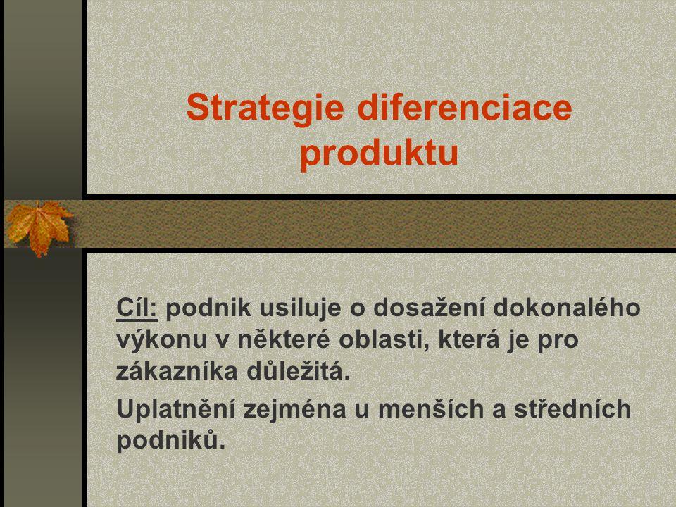 Strategie diferenciace produktu Cíl: podnik usiluje o dosažení dokonalého výkonu v některé oblasti, která je pro zákazníka důležitá. Uplatnění zejména