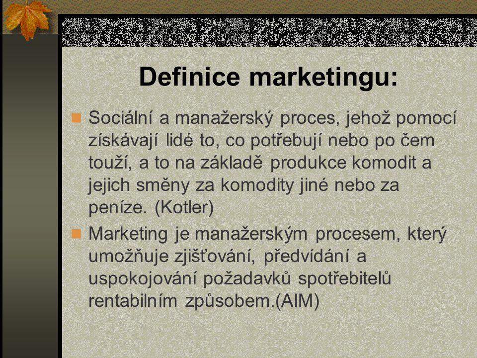 Definice marketingu: Sociální a manažerský proces, jehož pomocí získávají lidé to, co potřebují nebo po čem touží, a to na základě produkce komodit a jejich směny za komodity jiné nebo za peníze.