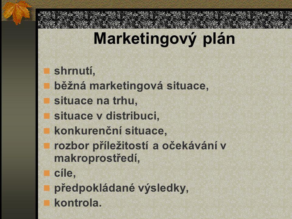 Marketingový plán shrnutí, běžná marketingová situace, situace na trhu, situace v distribuci, konkurenční situace, rozbor příležitostí a očekávání v makroprostředí, cíle, předpokládané výsledky, kontrola.