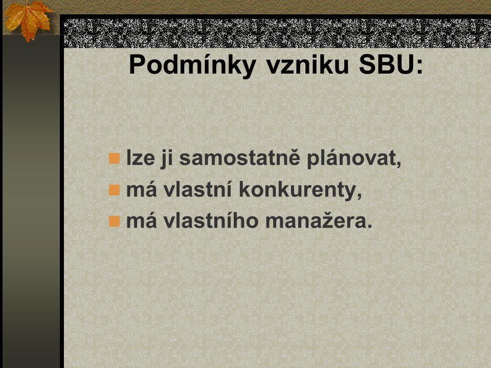 Podmínky vzniku SBU: lze ji samostatně plánovat, má vlastní konkurenty, má vlastního manažera.