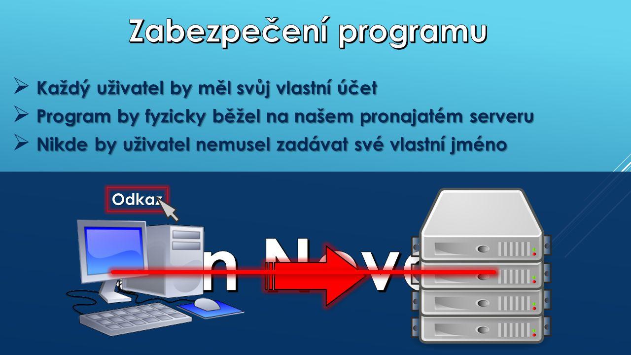 Každý uživatel by měl svůj vlastní účet  Každý uživatel by měl svůj vlastní účet Program by fyzicky běžel na našem pronajatém serveru  Program by fyzicky běžel na našem pronajatém serveru Nikde by uživatel nemusel zadávat své vlastní jméno  Nikde by uživatel nemusel zadávat své vlastní jméno Odkaz