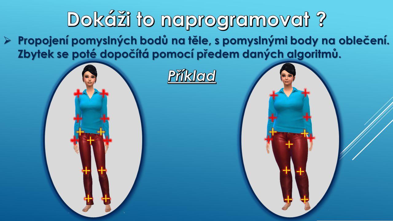  Propojení pomyslných bodů na těle, s pomyslnými body na oblečení.
