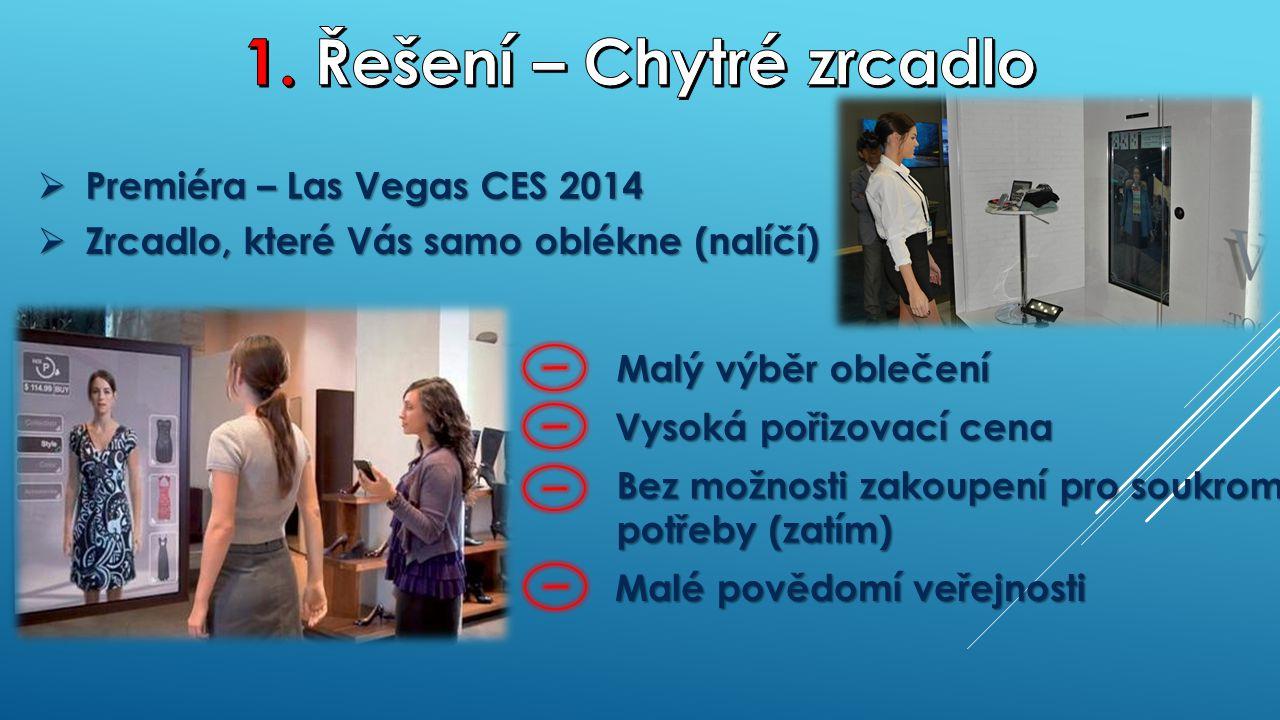 Bez možnosti zakoupení pro soukromé potřeby (zatím)  Premiéra – Las Vegas CES 2014  Zrcadlo, které Vás samo oblékne (nalíčí) Malý výběr oblečení Vysoká pořizovací cena Malé povědomí veřejnosti