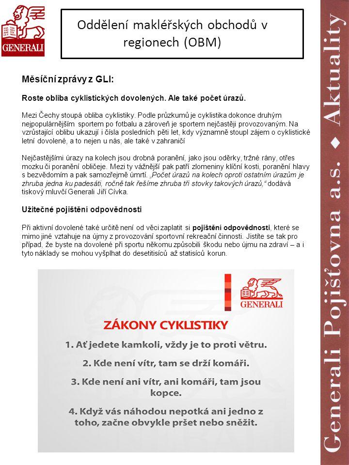 Oddělení makléřských obchodů v regionech (OBM) Měsíční zprávy z GLI: Roste obliba cyklistických dovolených. Ale také počet úrazů. Mezi Čechy stoupá ob