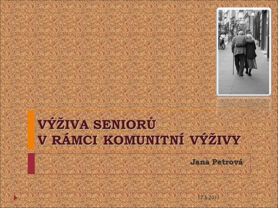 VÝŽIVA SENIORŮ V RÁMCI KOMUNITNÍ VÝŽIVY Jana Petrová 17.5.2011