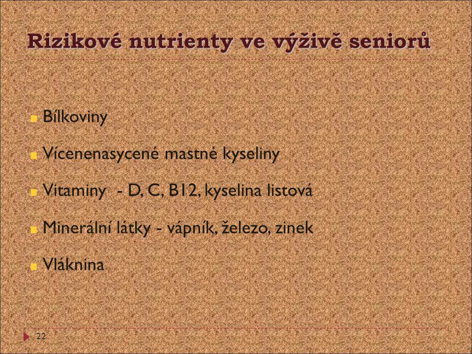 Rizikové nutrienty ve výživě seniorů Bílkoviny Vícenenasycené mastné kyseliny Vitaminy - D, C, B12, kyselina listová Minerální látky - vápník, železo,