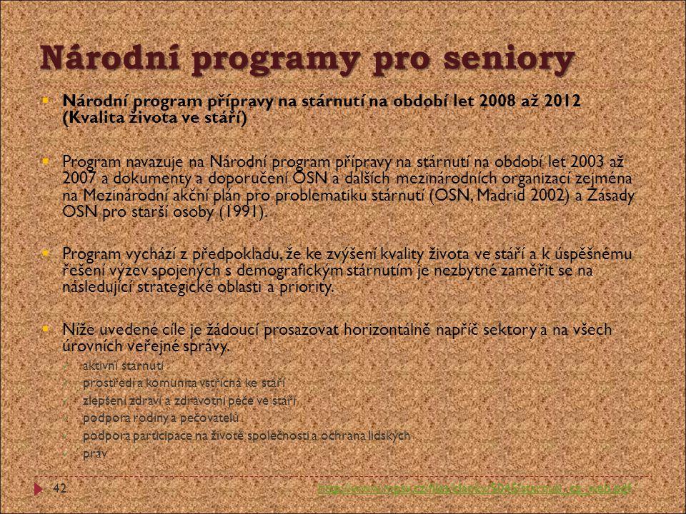 Národní programy pro seniory  Národní program přípravy na stárnutí na období let 2008 až 2012 (Kvalita života ve stáří)  Program navazuje na Národní