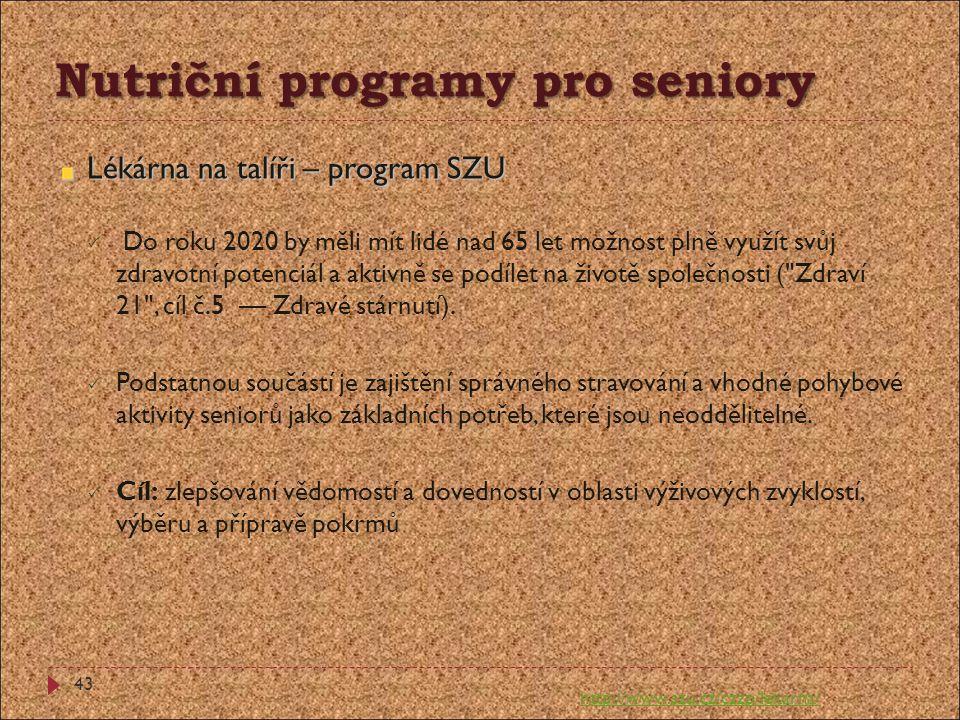 Nutriční programy pro seniory Lékárna na talíři – program SZU  Do roku 2020 by měli mít lidé nad 65 let možnost plně využít svůj zdravotní potenciál