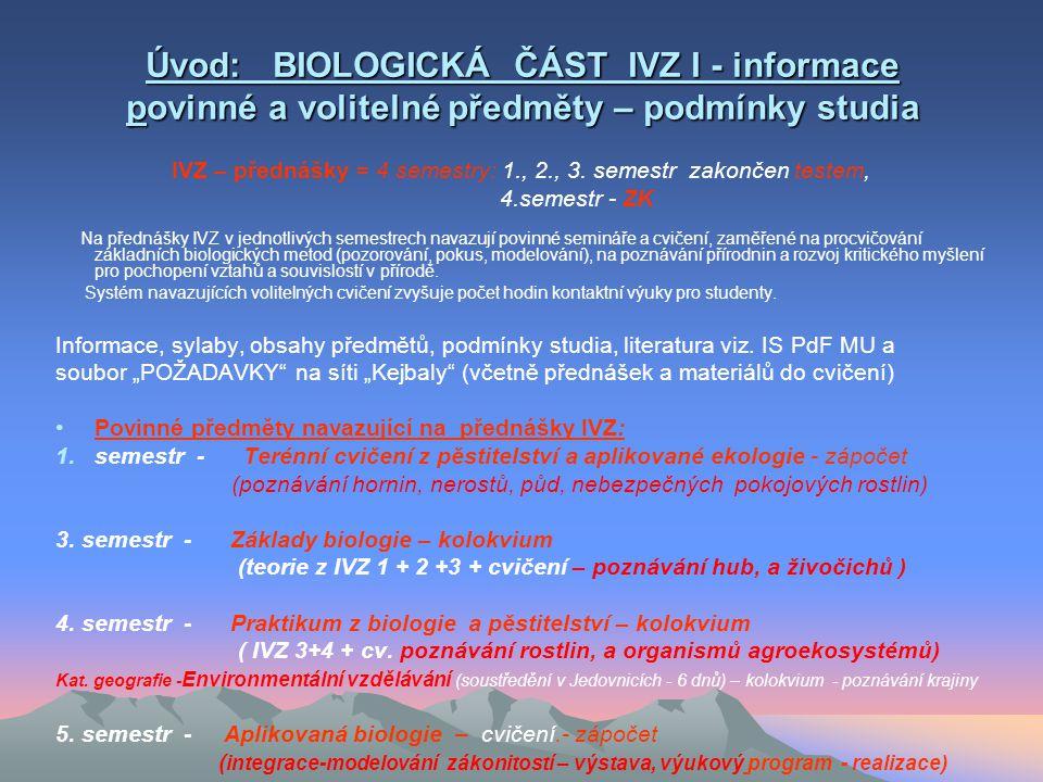 Obsah: I. Úvod: biologická část IVZ 1 povinné a volitelné předměty: podmínky- cíle studia, literatura) II. Vznik a vývoj života – přehled teorií ! Teo