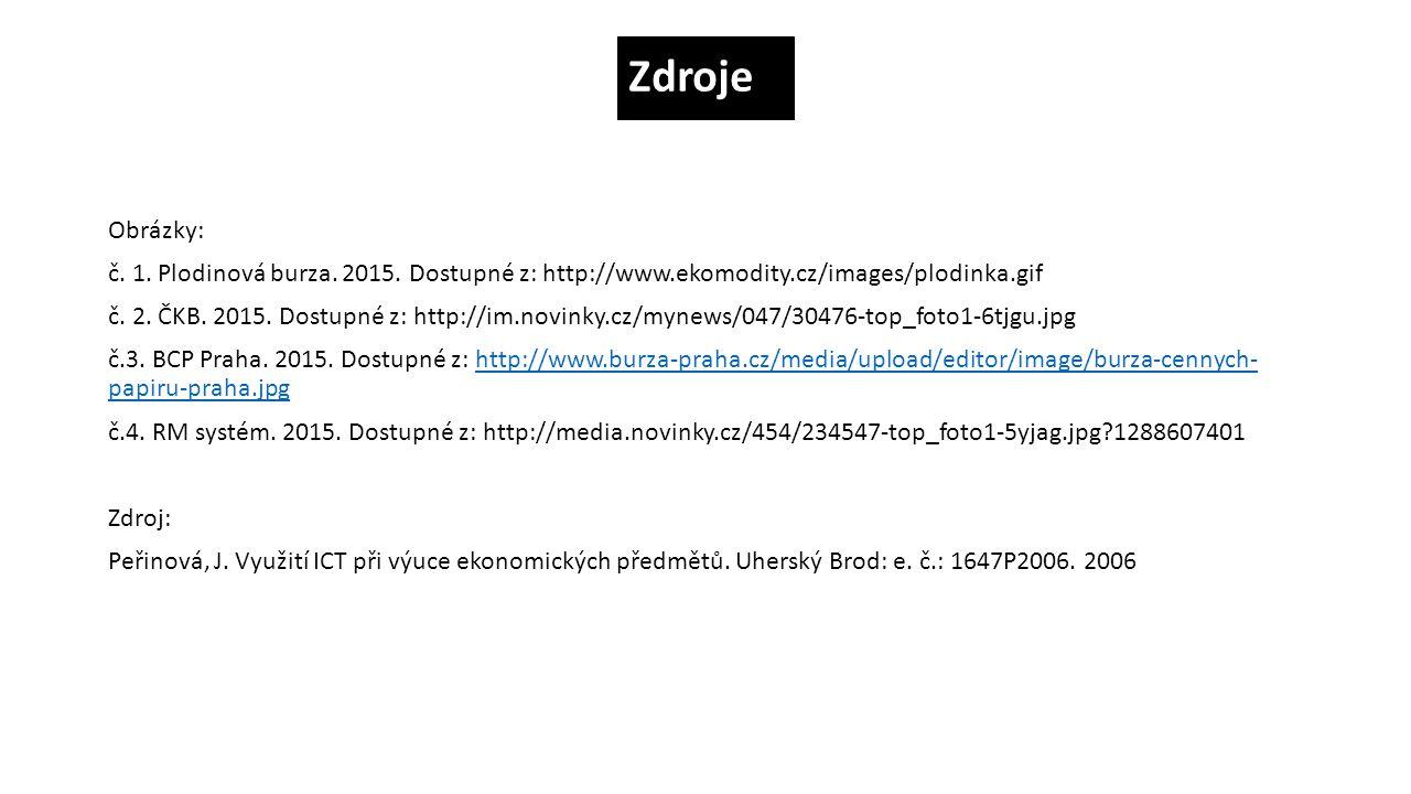 Zdroje Obrázky: č.1. Plodinová burza. 2015.