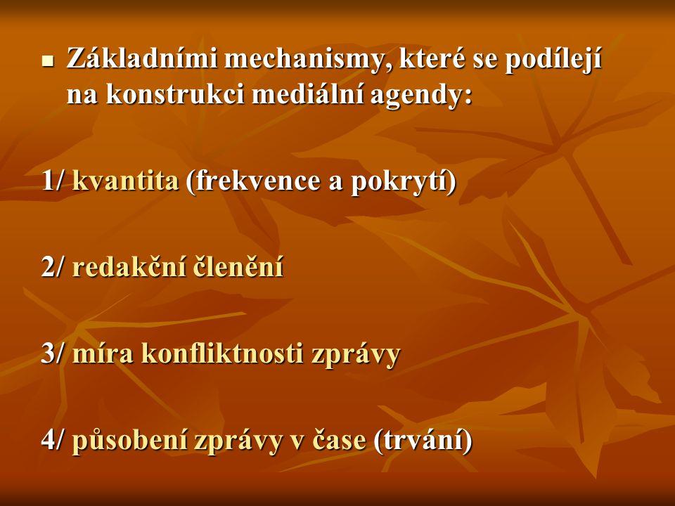 Základními mechanismy, které se podílejí na konstrukci mediální agendy: Základními mechanismy, které se podílejí na konstrukci mediální agendy: 1/ kva