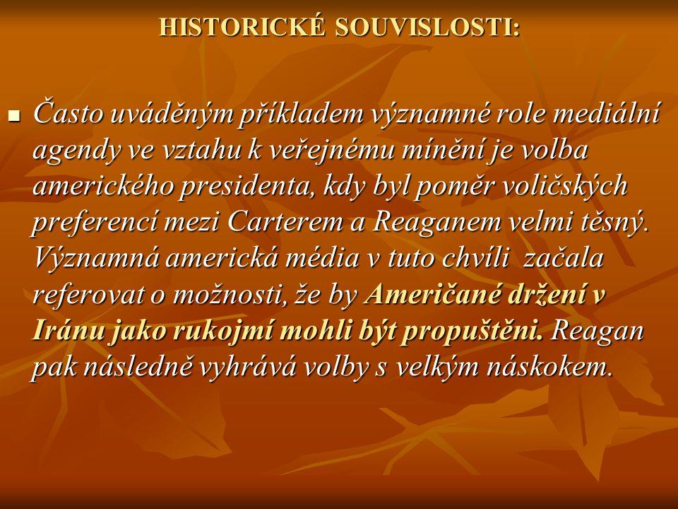 HISTORICKÉ SOUVISLOSTI: Často uváděným příkladem významné role mediální agendy ve vztahu k veřejnému mínění je volba amerického presidenta, kdy byl po